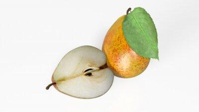 Adesivo Duas peras, uma cortada ao meio, frutas isoladas no fundo branco