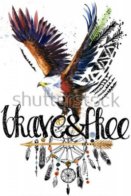 Adesivo eagle. American Indian Chief Headdress. war bonnet. dream catcher background. native american poster. animal illustration. brave and free hand written text.