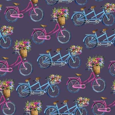 Adesivo eamless padrão com bicicletas e flores