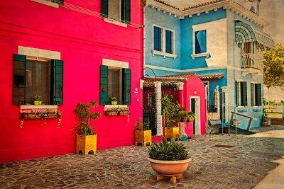 Adesivo Edifício de apartamento colorido em Burano, Itália 1