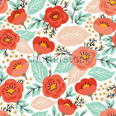 Adesivo Elegante padrão sem alteração com flores. Ele pode ser usado para papel de parede ou quadro para pendurar na parede ou cartaz, para preenchimentos de padrão, texturas de superfície, fundos de página d