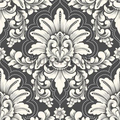 Adesivo Elemento de padrão sem emenda de damasco de vetor. Ornamento antiquado do damasco do luxo clássico, textura sem emenda para papéis de parede, matéria têxtil do victorian real, envolvendo. Modelo barro