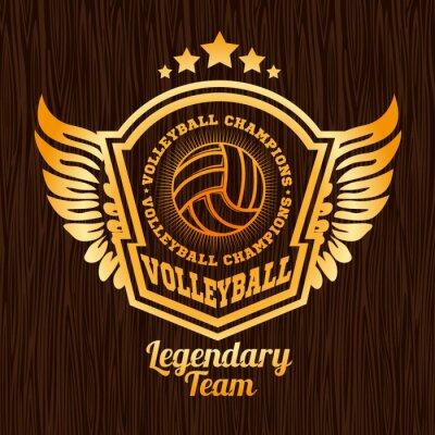 Adesivo Emblema do voleibol do ouro na textura de madeira.