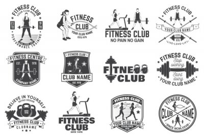 Adesivo Emblemas do clube de fitness. Vetor. Para emblemas de centros de fitness, sinais de ginásio e outros.