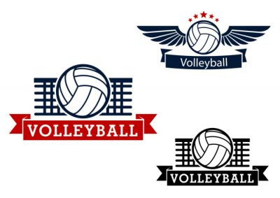 Adesivo Emblemas do voleibol com itens de jogo