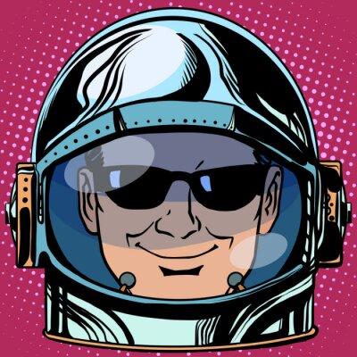 Adesivo Emoticon espião Emoji rosto homem astronauta retro