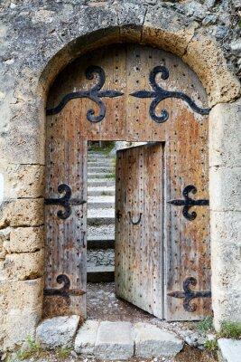 Adesivo Entreaberta porta de madeira velha