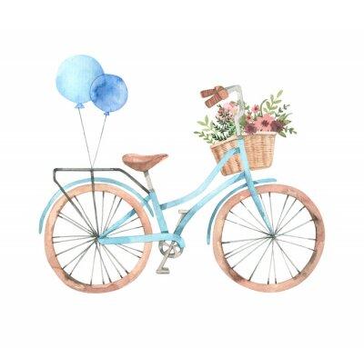 Adesivo Entregue a ilustração tirada da aquarela - bicicleta romântica com a cesta da flor nas cores pastel. Bicicleta da cidade. Amesterdão Perfeito para convites, cartões, cartazes, impressões