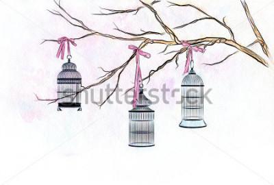 Adesivo Entregue como gaiolas de pássaro tiradas da aquarela nos ramos de uma árvore com fitas cor-de-rosa.