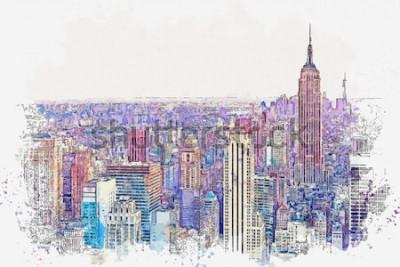 Adesivo Esboço da aguarela ou ilustração de uma vista bonita da New York City com arranha-céus urbanos. Paisagem urbana ou horizonte urbano.