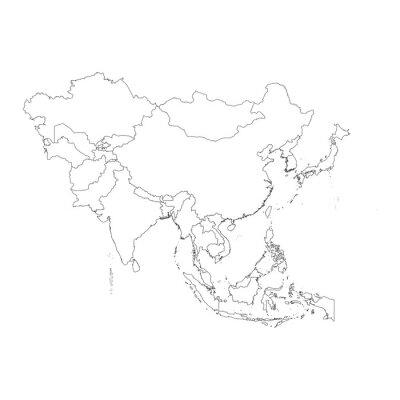 Adesivo Esboço no fundo limpo do continente da Ásia