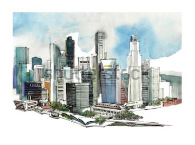 Adesivo Esboço panorâmico da aquarela da cidade de Singapura. Silhueta de horizonte da cidade. Mão desenhar com arquitetura. Ilustração colorida da cidade do negócio para cartão, t-shirt,