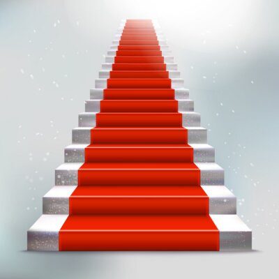 Adesivo Escada de pedra realista com carpete e luz vermelha