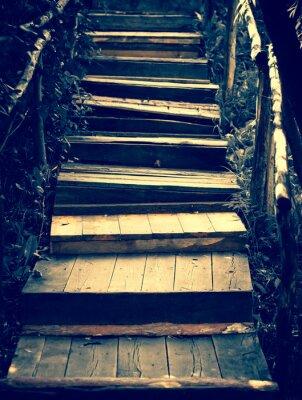 Adesivo Escadas de madeira velhas