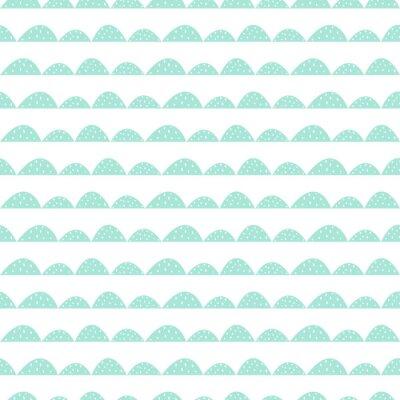 Adesivo Escandinavo, seamless, hortelã, Padrão, mão, desenhado, estilo Colinas estilizadas colina. Wave padrão simples para tecido, têxtil e roupa de bebê.