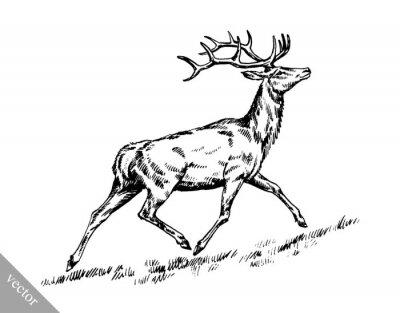 Adesivo Escova pintura tinta desenhar vetor cervos ilustração