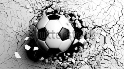 Adesivo Esfera de futebol que quebra com grande força através de uma parede branca. Ilustração 3d.