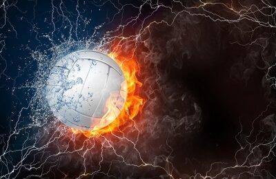 Adesivo Esfera do voleibol no fogo e água
