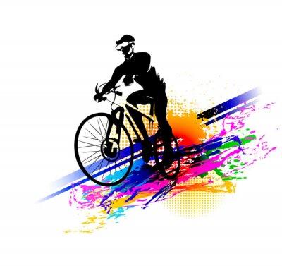 Adesivo Esporte de motociclista. Ilustração vetorial