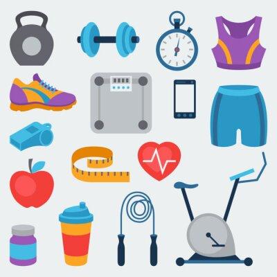 Adesivo Esportes e ícones de fitness ajustado no estilo plana.