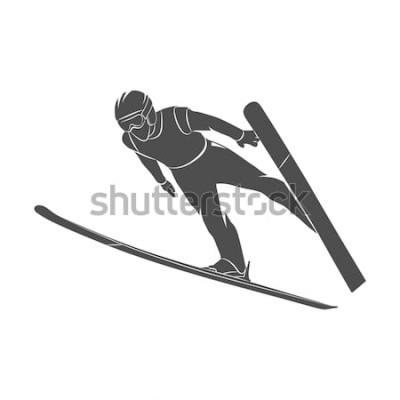 Adesivo Esquiador de salto em silhueta sobre um fundo branco. Ilustração fotográfica.