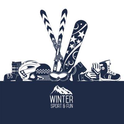 Adesivo Esquiar. Esportes extremos de inverno.