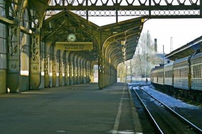 Adesivo Estação ferroviária, relógio, e