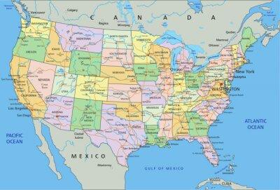 Adesivo Estados Unidos da América - mapa político editável altamente detalhado com a rotulagem.