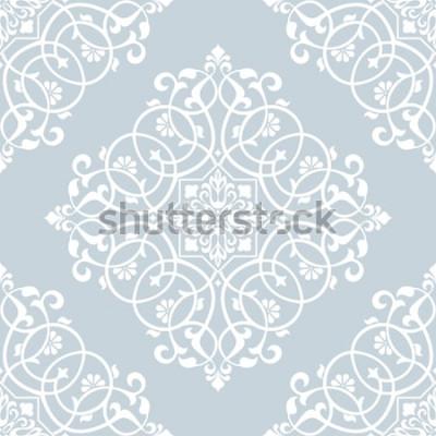Adesivo Estampa floral. Papel de parede barroco, damasco. Vetor sem costura de fundo. Ornamento azul e branco.