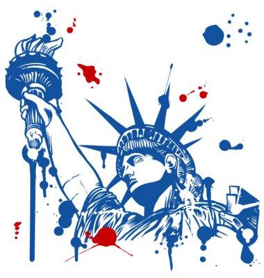 Adesivo estátua da liberdade com tocha com tinta gotejamento
