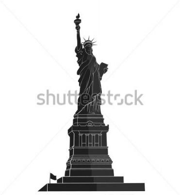 Adesivo Estátua da Liberdade. Marco de Nova Iorque. Símbolo americano. silhueta plana