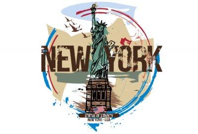 Adesivo Estátua da liberdade, Nova York / EUA. Projeto da cidade. Mão ilustrações desenhadas