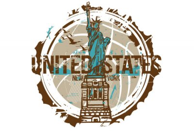 Adesivo Estátua da liberdade, Nova York / EUA. Projeto da cidade. Mão ilustrações desenhadas.
