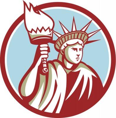 Adesivo Estátua, liberdade, segurando, flamejante, tocha, círculo, retro