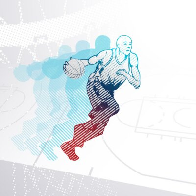 Adesivo Estilizado, basquetebol, jogador, driblar, bola