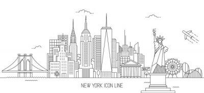 Adesivo Estilo de arte de linha de horizonte de Nova Iorque