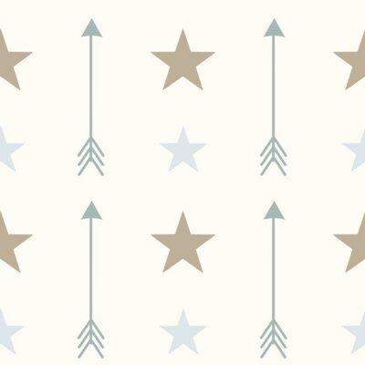 Adesivo Estilo nórdico cores setas e estrelas seamless vetor padrão ilustração fundo