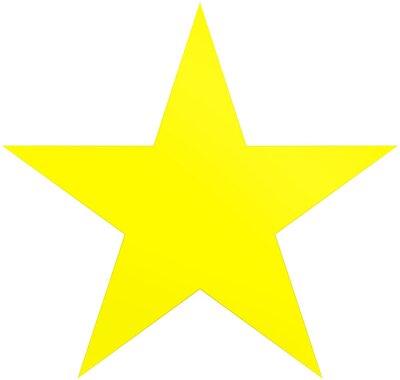 Adesivo Estrela de Natal amarela - estrela de 5 pontos simples - isolada no branco