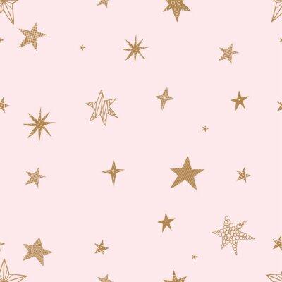 Adesivo Estrelas douradas bonitinha. Padrão sem emenda vector. Padrão sem emenda pode ser usado para papel de parede, preenchimentos de padrão de fundo da página web, texturas de superfície.