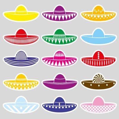 Adesivo Etiquetas das variações do chapéu do sombrero de México eps10