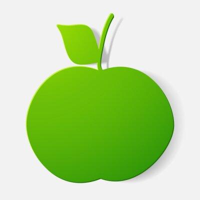 Adesivo Etiquetas de papel cortadas: fruta, maçã