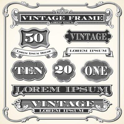 Adesivo Etiquetas do vintage, quadros e ornamento