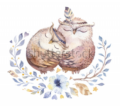Adesivo Eu te amo. Ilustração bonita da aguarela com corujas doces, corações e flores em cores impressionantes. Impressionante cartão de dia dos namorados romântico feito em técnica de aquarela. Projeto isola