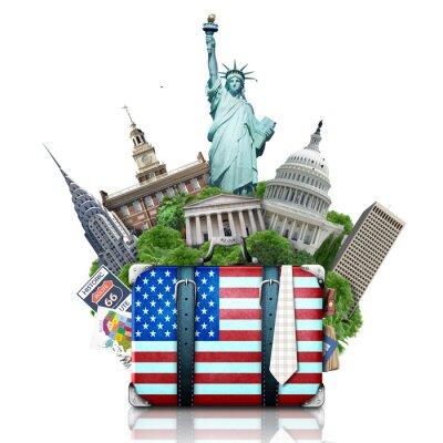 Adesivo EUA, marcos EUA, mala e Nova York