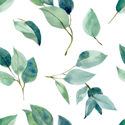 Adesivo eucalyptus leaves, seamless pattern, watercolor tropical leaves on isolated white background, digital paper