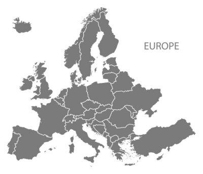 Adesivo Europa com países Mapa cinza