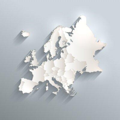 Adesivo Europa, mapa político, bandeira 3D, vetor, indivíduo, estados, separado