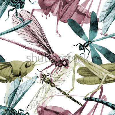 Adesivo Exotic crickets  wild insect in a watercolor style pattern. Full name of the insect: crickets, grasshoppers . Aquarelle wild insect for background, texture, wrapper pattern or tattoo.