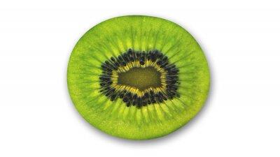 Adesivo Fatia de kiwi, frutas tropicais cortadas ao meio isolado no fundo branco