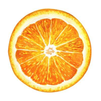 Adesivo Fatia de laranja fresca isolado no fundo branco